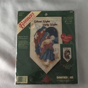 Silent Night Counted Cross Stitch Banner